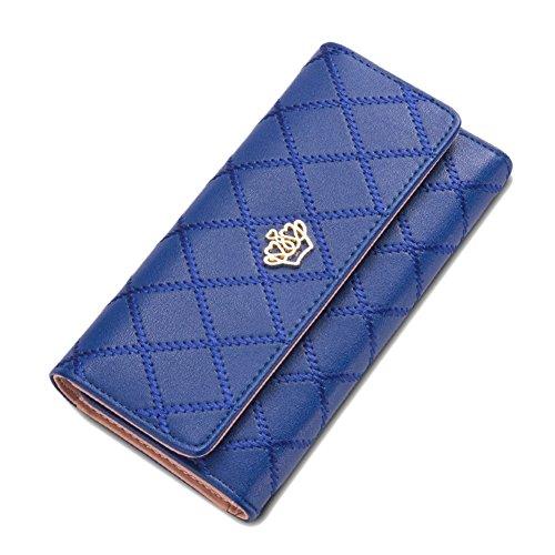 Donna Elegante Portafoglio in Finta Pelle Portamonete e Porta Carte di Credito per Frizione Blu