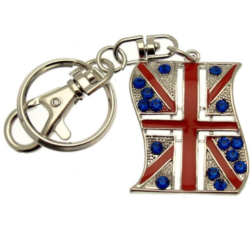(Acosta Jewellery–Silber Ton mit Kristall–Union Jack Flagge Charm/Schlüsselanhänger–Weihnachten Geschenk Idee)