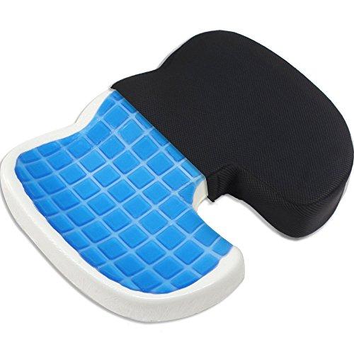 Proveon Orthopädisches Gel-Sitzkissen - Steissbeinkissen aus Visco-Memory-Schaum - wirkt druckentlastend und schmerzlindernd bei Steißbein- und Rückenschmerzen, Dekubitus oder Hämorrhoiden - Visco-elastisches Gel