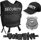 normani SWAT/Security/Police Kostüm bestehend aus Weste mit passendem Patch, Einsatz-Gürtel, Cap, US Abzeichen [XS - 6XL] Unisex Farbe Security Größe XL/XXL