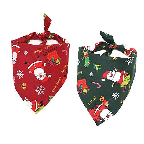 MoonyLI Weihnachtshundebandana-Haustier-Speichel-Tuch-Schal-Haustier-Kragen - 2 PC waschbare Hundedreieck-Schal- Weihnachtssocken kopierten Halstuch-Kostüm