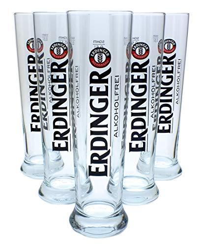 6 x Erdinger Alkoholfrei 0,5l Glas / Gläser, Bierglas, Markenglas, + Flaschenausgiesser