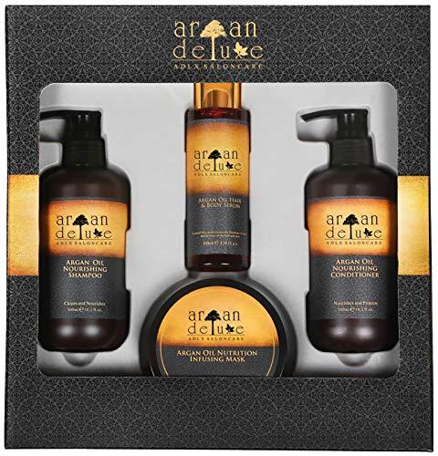Argan Deluxe Geschenk-Set für Frauen - luxeriöse Arganöl Haarpflege in Friseur-Qualität - Beauty Geschenkset Damen -