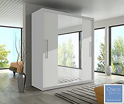 FAST&FREE DELIVERY BRAND NEW BEDROOM 2 SLIDING DOORS WARDROBE 6 ft 8 inch (204cm) 'MIRROR I - WHITE' - cheap UK light shop.