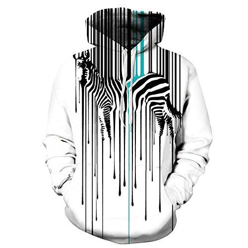 BYWLHNB Männer & Frauen Hoodies gestreifte Ze 3D Print Hoodie Hoody Hip Hop Sweatshirts Paar Übergrößen Pullover Oberbekleidung Trainingsanzug, Zebra, XL -