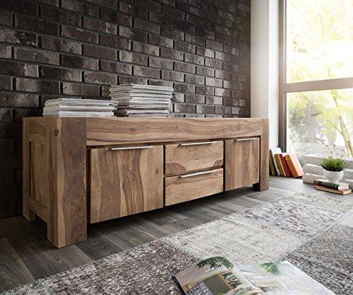 Fernsehtisch Blokk Sheesham Natur 160 cm 2 Türen 2 Schübe Massivholz Lowboard
