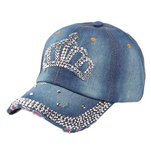 Unisex Baseball Cap,Sannysis Retro Hip-Hop Diamant-Kronen-Wohnung Hysteresen-Hut (B)