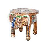 Invicta Interior Massiver Hocker Elefant MAURITIUS 50cm bunt orientalisches Design Handarbeit Mangoholz Massivholz handgeschnitzt Beistelltisch