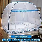 mayihang Moskitonetz Mongolei Tasche Moskitonetz 1,8m Bett doppelt Familie 1,5m freie Installation von drei Tür Studenten die Schlafsaal 1,2m Princess Wind, Full unten–-3s Speed–Stoßfest–Lotus Blau, 1,8* 2.2m Bed