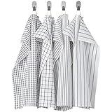 Ikea TSSP Tea Towel, White/Dark grey/patterned45x60 cm (18x24 )(Pack of 4)