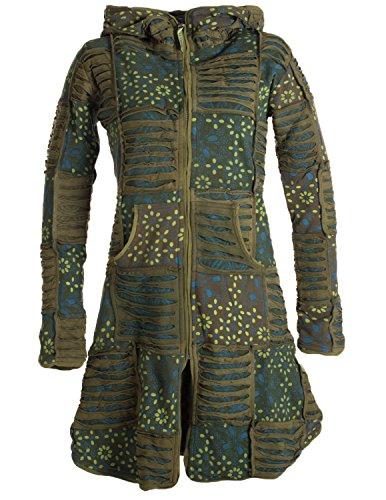 Vishes - Alternative Bekleidung - Warmer Elfen Patchworkmantel aus Baumwolle mit Fleecefutter und Kapuze Olive 36