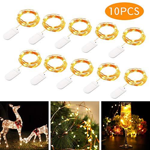 tronisky LED Lichterkette Batterie 20 LEDs 2M Kupferdraht Lichterkette Sternlicht Warmweiß Wasserdicht Außen & Innen Licht Dekoration für Weihnachten, Party, Haus, Hochzeit, 10 - Wasser Meter Kostüm