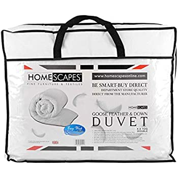 Homescapes - Luxury White Goose Feather & Down Duvet - 4.5 Tog - Double Size - 100% Cotton Anti Dust Mite & Down Proof Fabric - Anti allergen - Box Baffle Construction - Washable at Home range