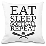 Eat Sleep Softball Repeat Slogan Custom Printed Decorative Pillowcase - 100% Soft Polyester - Decorative Home Accessories