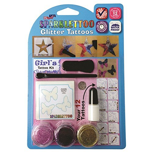 16 Piece Girl's Glitter Tattoo Set by RUBY RED PAINT, INC.
