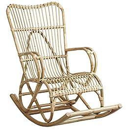 PEGANE Rocking-Chair en rotin laqué Naturel – Dim : 59 x 120 x 100 cm