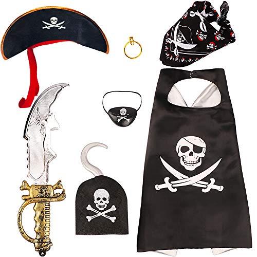 ten Kindergeburtstag Augenklappe Kinder Piraten Zubehör Bandana Kopftuch Pirat Schnurrbart für Party Halloween Karneval (B) ()