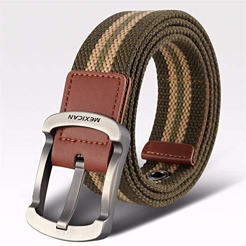 ANSODT - Cinturón de Lona para Hombre, Estilo Casual y Salvaje, Talla D, 105 cm