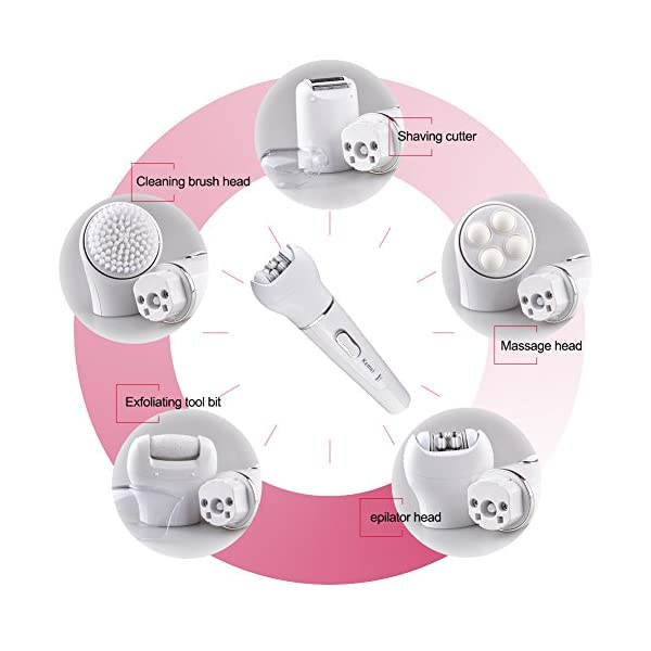 Kemei 5 In 1 Electric Hair Remover Bikini Trimmer Wet And Dry Rechargeable Lady Shaver Epilator Facial Massage Tool Kit With Shaver Head Depilator Head Callus Remover Km 2199