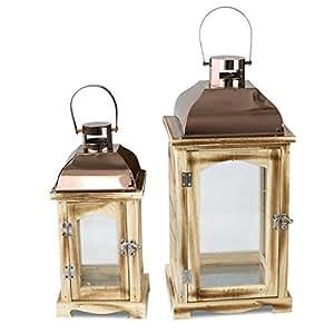dekoratives 2tlg holzlaternen set glasfenster und. Black Bedroom Furniture Sets. Home Design Ideas