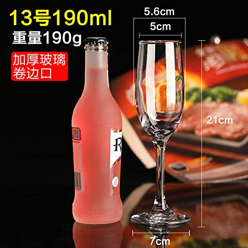 Luxury glass Sechs Kristall-Champagnergläser, Hohe Gläser, Rotweingläser, Kreative Cocktailgläser, Wein-Boudoir-Gläser, Bubble-Gläser Für Den Haushalt, Verdickter Champagner-Becher Nr. 13 190Ml -
