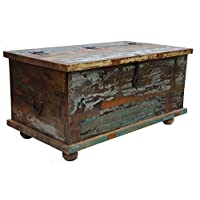 EcoIndia Shabby Chic Old Painted Teak Chest Coffee Lift Top Table by Natural Living