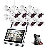 [2019 Más Reciente] ANRAN 1080P Kit Cámaras de Vigilancia WiFi con Monitor de 12 Pulgadas 8CH NVR CCTV Kit Videovigilancia WiFi con Pantalla 8 Cámaras de Vigilancia con 3TB HDD Visión Nocturna
