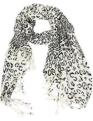 Écharpe Accessoire Pour Femmes Calonice Amorino Écharpe Blanche Zébrée impression Léopard des Neiges Polyester Noir et Blanc Taille Unique 72x202x0.1 cm (LxHxl) 22400