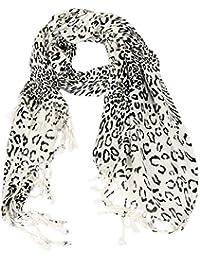 Calonice Amorino Frauen Accessoire Schal Schal Weißer Leopard Schneeleopard Druck Polyester Schwarz und Weiß Einheitsgröße 72x202x0.1 cm (BxHxT) 22400
