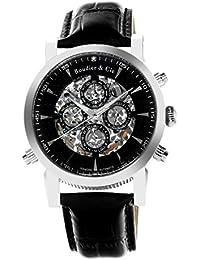 Boudier & Cie SK14H053 - Reloj Esqueleto Automatico Analogico para hombre, Esfera blanca, Correa de Cuero negro, Acero inoxidable