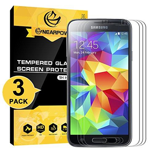 galaxy s5 schutz NearPow [3 Stück Panzerglas Displayschutzfolie für Samsung Galaxy S5, Schutzfolie 9H Härte, Anti-Kratzen, Anti-Öl, Anti-Bläschen, Anti-Fingerabdruck