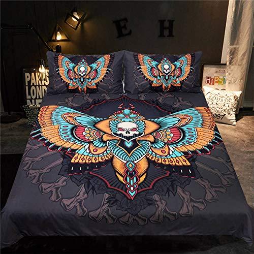Tapidno set biancheria da letto set di lenzuola per falena della morte set copripiumino con teschio gotico set di lenzuola per farfalle 3 pezzi moon stars 220cm x 240cm