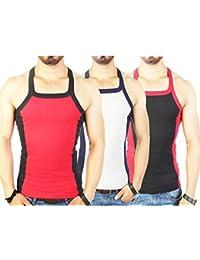 Zimfit Men's Gym Vest 112 Pack Of 3 (Red_Grey_Black)