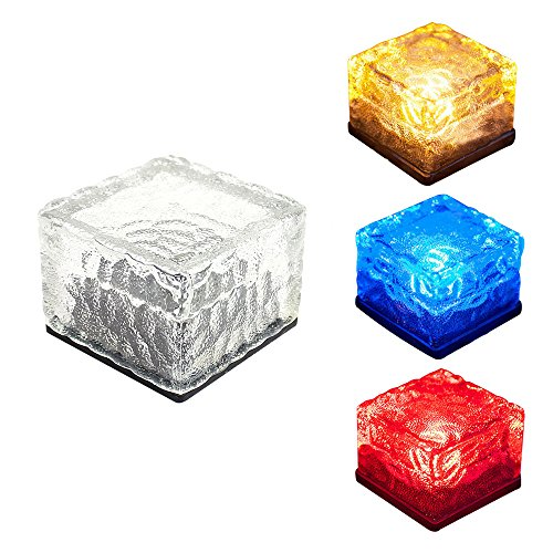 Patio Cube (Solarbetriebene LED Glas Brick Wegbeleuchtung, baffect® Solar LED Eis Rocks Cube Glas Brick LED-Lichter für Patio Outdoor Garten Innenhof Weg Dekoration (bunt))