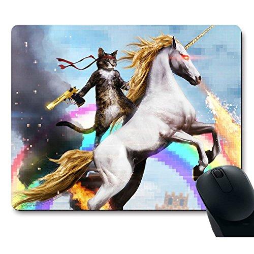 zmvise Funny Cool Cat con pistola montar un unicornio alfombrilla de ratón...