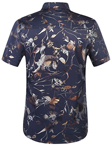 SSLR Herren Floral Regualr Fit Kurzarm Casual Button Down Hemd Blau