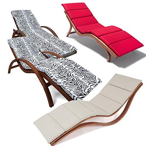Ampel 24 Relax Liegestuhl, Gartenliege aus vorbehandeltem Holz wetterfest, Relaxliege mit Auflage