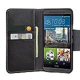 Premium Tasche für HTC One M9 / Außenseite aus Echt-Leder / Innenseite aus Textil und Leder / Case mit Magnet-Verschluss / Schutz-Hülle seitlich aufklappbar / ultra-slim Cover / Farbe: Schwarz