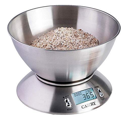 DZSF Elektronische Digital Küchenwaage Edelstahl Lebensmittelwaage mit Abnehmbarer Schüssel 2,15 l Flüssigkeitsvolumen LCD-Display 5 kg - Essen-gewicht-digital-skala