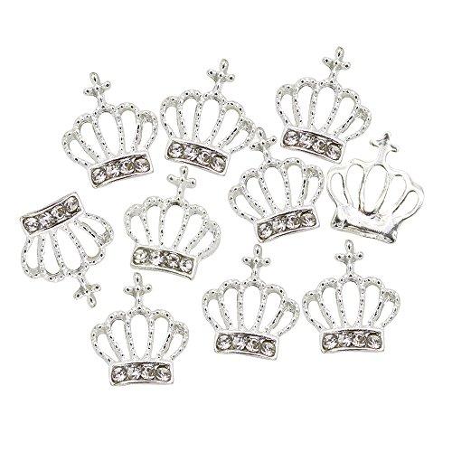 jhtceu 10 Stück Nailart Tips 3D Legierung Strass Krone Form Glitzer Perlen DIY Decor Beauty Tool - Krone Juwel Der Auf