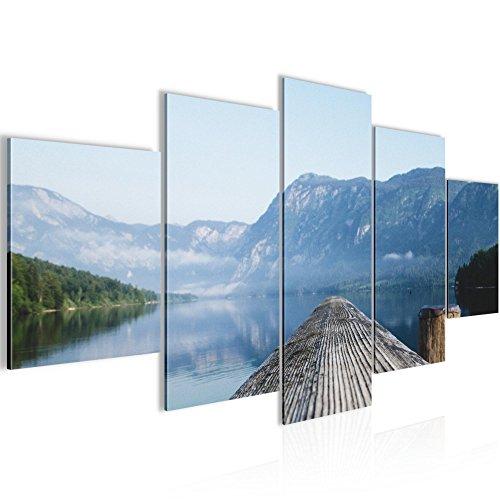 Bild 200 x 100 cm - Steg Bilder- Vlies Leinwand - Deko für Wohnzimmer -Wandbild - XXL 5 Teilig Teile - leichtes Aufhängen- 806051a