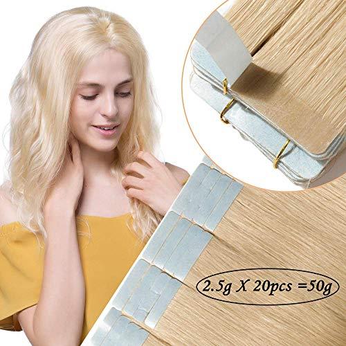 Extension adesive capelli veri 40g remy lisci umani lunghi con biadesivo 20 fasce tape extension 2g/fascia - 14