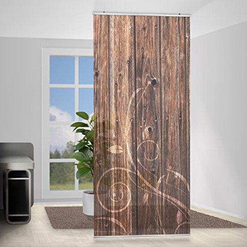 Tenda a pannello wooden fence floral, Dimensione: 250x120cm, incl. staffa, tende a panello, tende a pannelli, tende moderne, tendaggi moderni, divisorio, paravento, divisorio