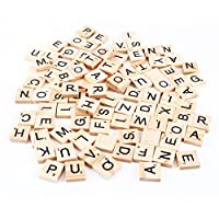 Wicemoon 100Pcs DIY Wooden Embellishments Alphabet Scrabble Tiles Black Letters & Numbers For Crafts Ornament Decorations 18 * 20mm
