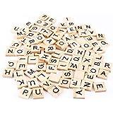 Outflower 100 pcs DIY de Madera Lnglés Alfabeto Scrabble Puzzle Negro Letras Números Manualidades Madera