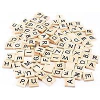 Outflower Lot de 100lettres de l'alphabet et nombres, noir, sur pastilles en bois, pour Scrabble, puzzle, et autres activités