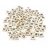 Outflower - Tessere in legno con lettere dell'alfabeto inglese, lettere e numeri per puzzle/scarabeo realizzate a mano, di colore nero - 100 pezzi