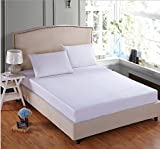 #4: Linenwalas 600 TC Premium Cotton Plain Queen Size Fitted Bedsheet with 2 Pillow Covers- White - 60