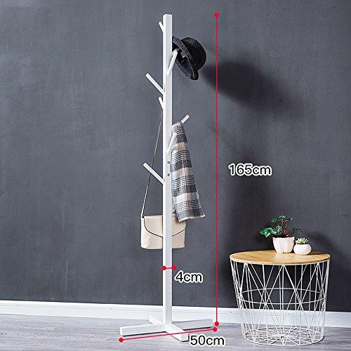 Garderobe Einfache Boden Standing Coat Rack Baum Massiv Holz Holz Mit 8 Haken 165cm Home Schlafzimmer Lagerung ( Farbe : Weiß - Haken Mit Coat Regal Rack