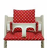 Blausberg Baby - Sitzkissen Kissen Polster Set für Stokke Tripp Trapp Hochstuhl- Einheitsgröße, Rot Punkte beschichtet